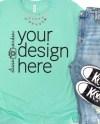 Bella Canvas 3001 Shirt Mockup Heather Mint T Shirt Mock Up Etsy