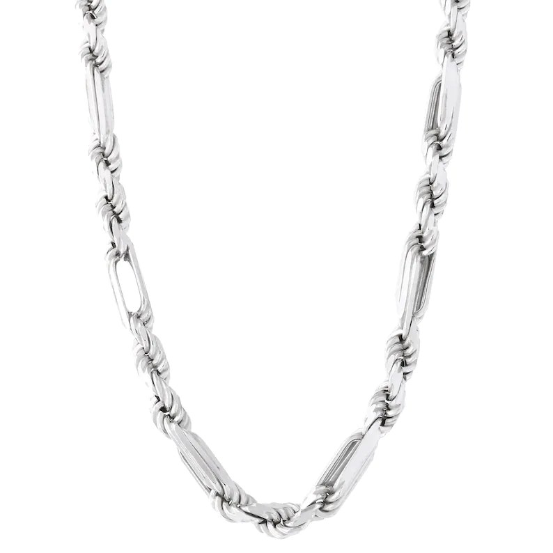 Solid Sterling Silver Rhodium Plated Diamond Cut Figarope