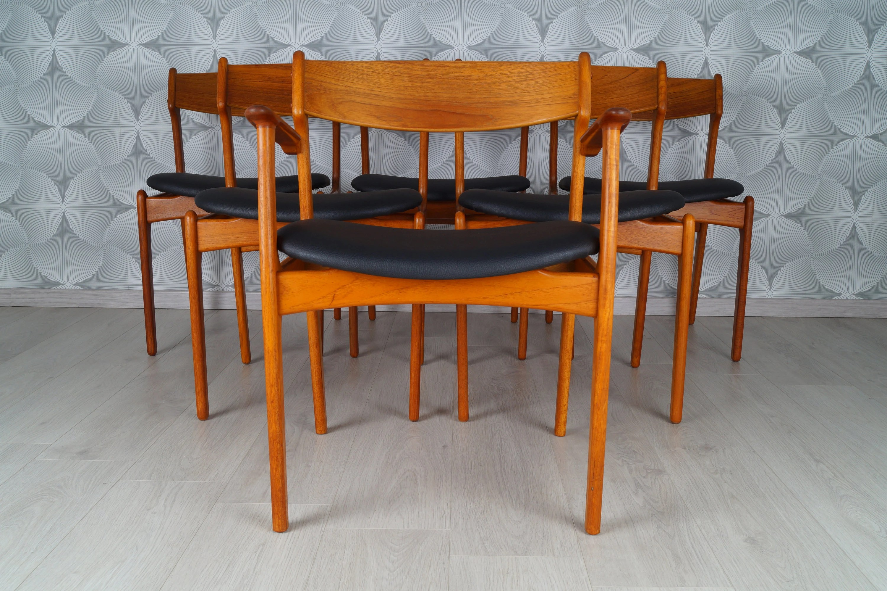 Teak Dining Room Chairs Set Of 6 Danish Teak Dining Room Chairs 50s 60s O D Møbler