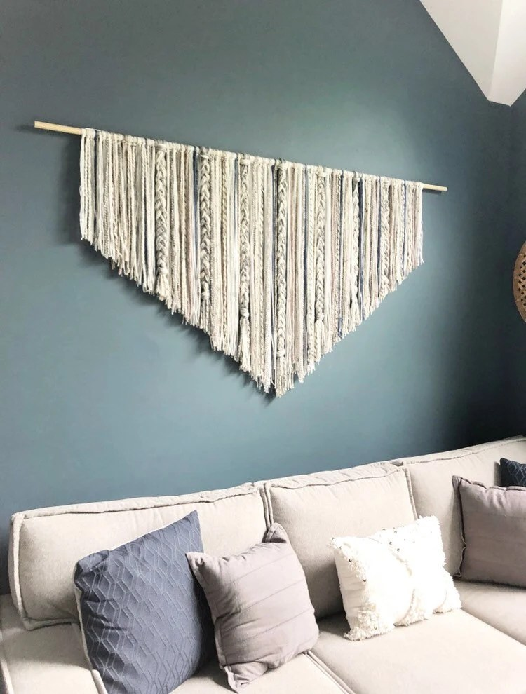decor for large living room walls curtain valances wall etsy extra macrame hanging dorm boho art yarn over bed