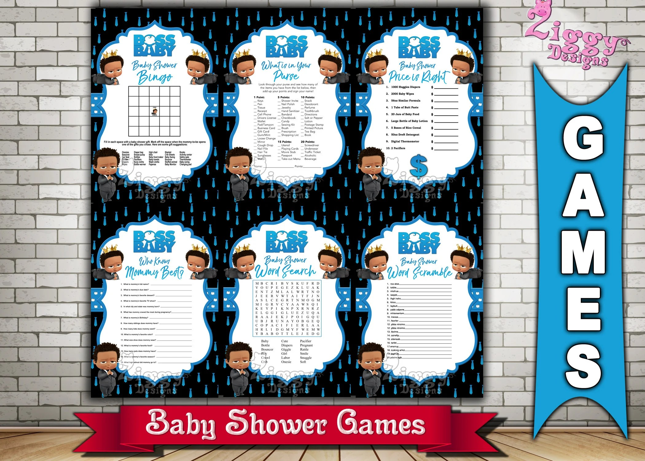 The Boss Baby African American Baby Shower Games The Boss Etsy