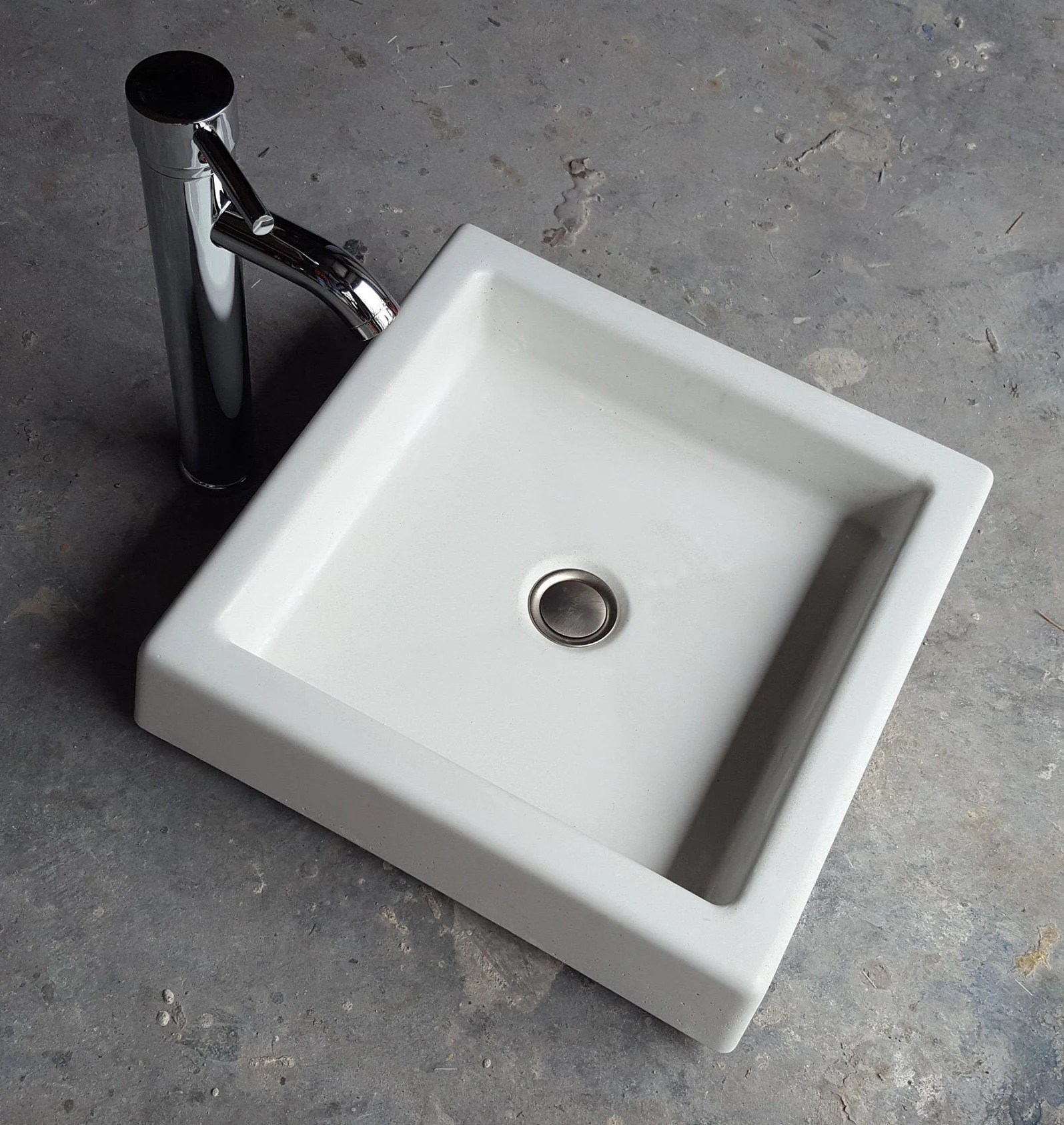 small sqaure vessel sink shallow square concrete sink basin