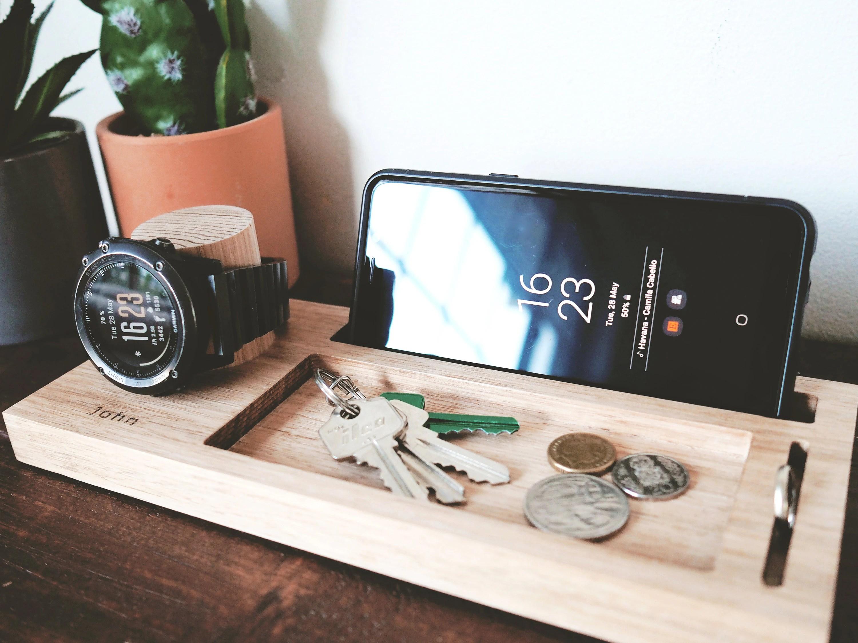 Personalised Nightstand Organizer 25cm Birthday Gift Watch Stand Phone Stand Desk Organiser Ring Holder Glasses Holder Christmas Gift
