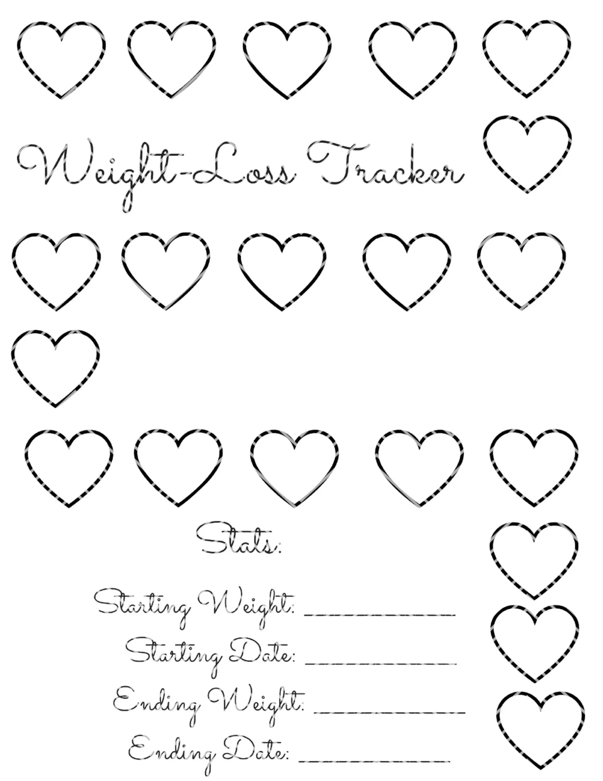 20 Pound Weight Loss Tracker Heart Instant Download