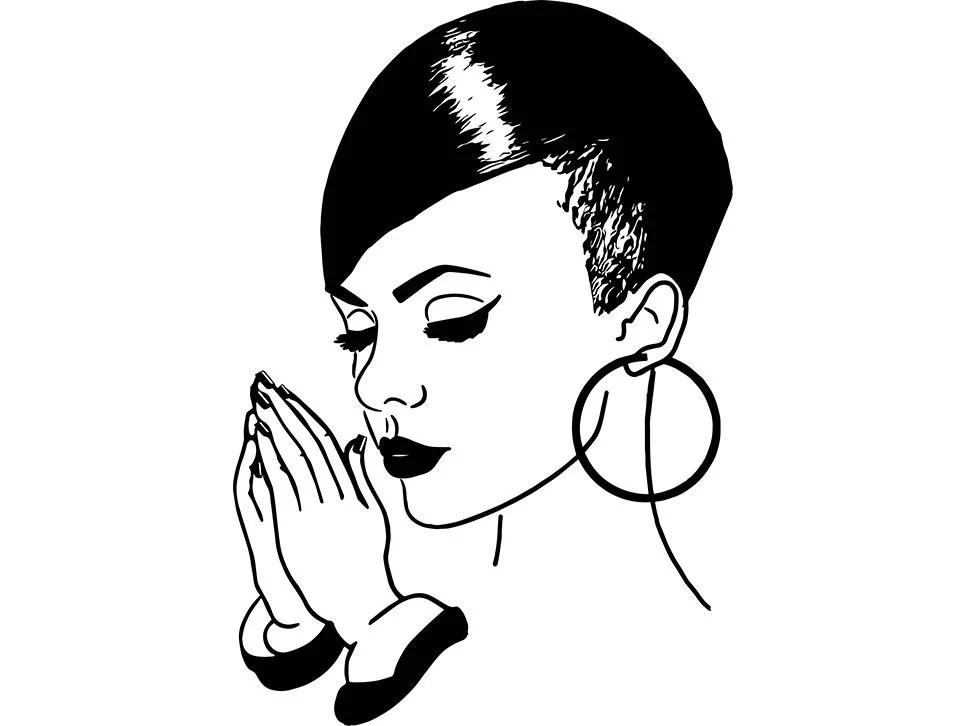 Black Women Praying Nubian Princess Queen Afro Hair