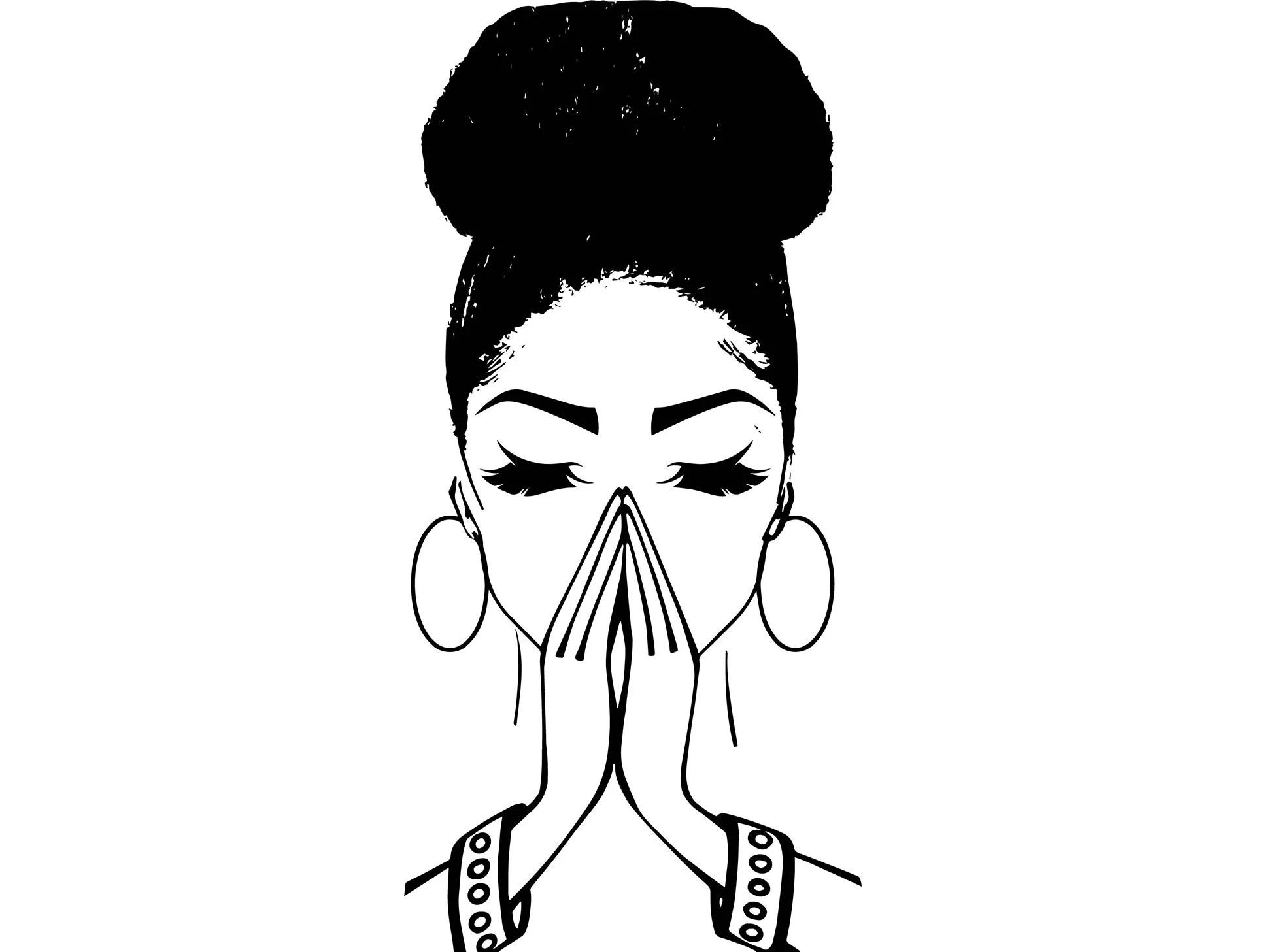Women Praying Bun Nubian Princess Queen Afro Hair