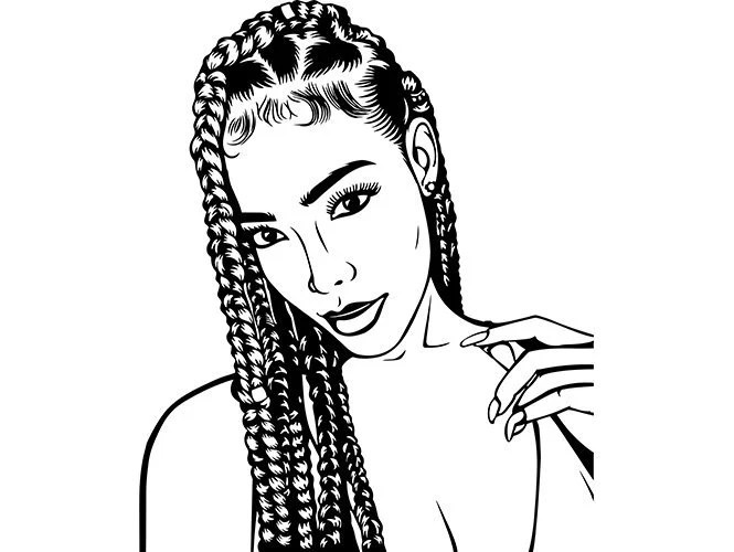 Afro Woman SVG Dreads Nubian Princess Queen Hair Beautiful