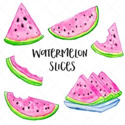 Watermelon Slices Watercolor Clip Art Watercolor Watermelons Etsy