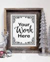 Rustic Christmas Themed Barnwood Frame Mock Up With Chalkboard Etsy
