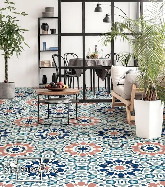 marrakech vinyl pvc flooring vintage vinyl flooring azulejos etsy