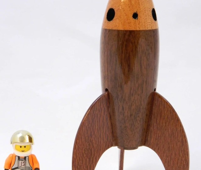 Wooden Rocket  Tall Made From Walnut Mahogany And Lacewood