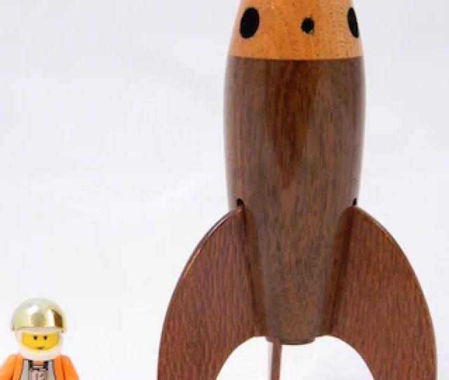 Wooden Rocket  Tall Made From Walnut Mahogany And Lacewood