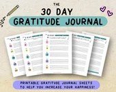 Printable 30 Day Gratitude Journal • Gratitude Practice • Happiness Habits • Mental Health • Appreciation Planner