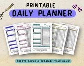 Printable Daily Planner • Weekday Planner • Schedules • Daily Organization Planner • To-Do List • Task List • A4 • A5 • US Letter