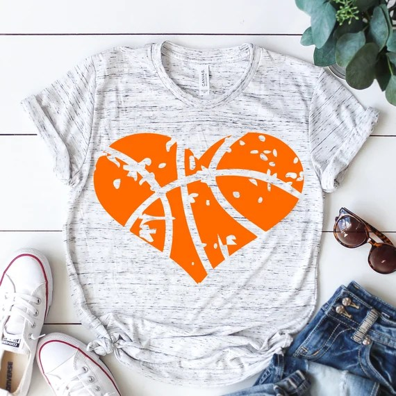 Love Basketball Heart clipart Distressed svg sports svg   Etsy