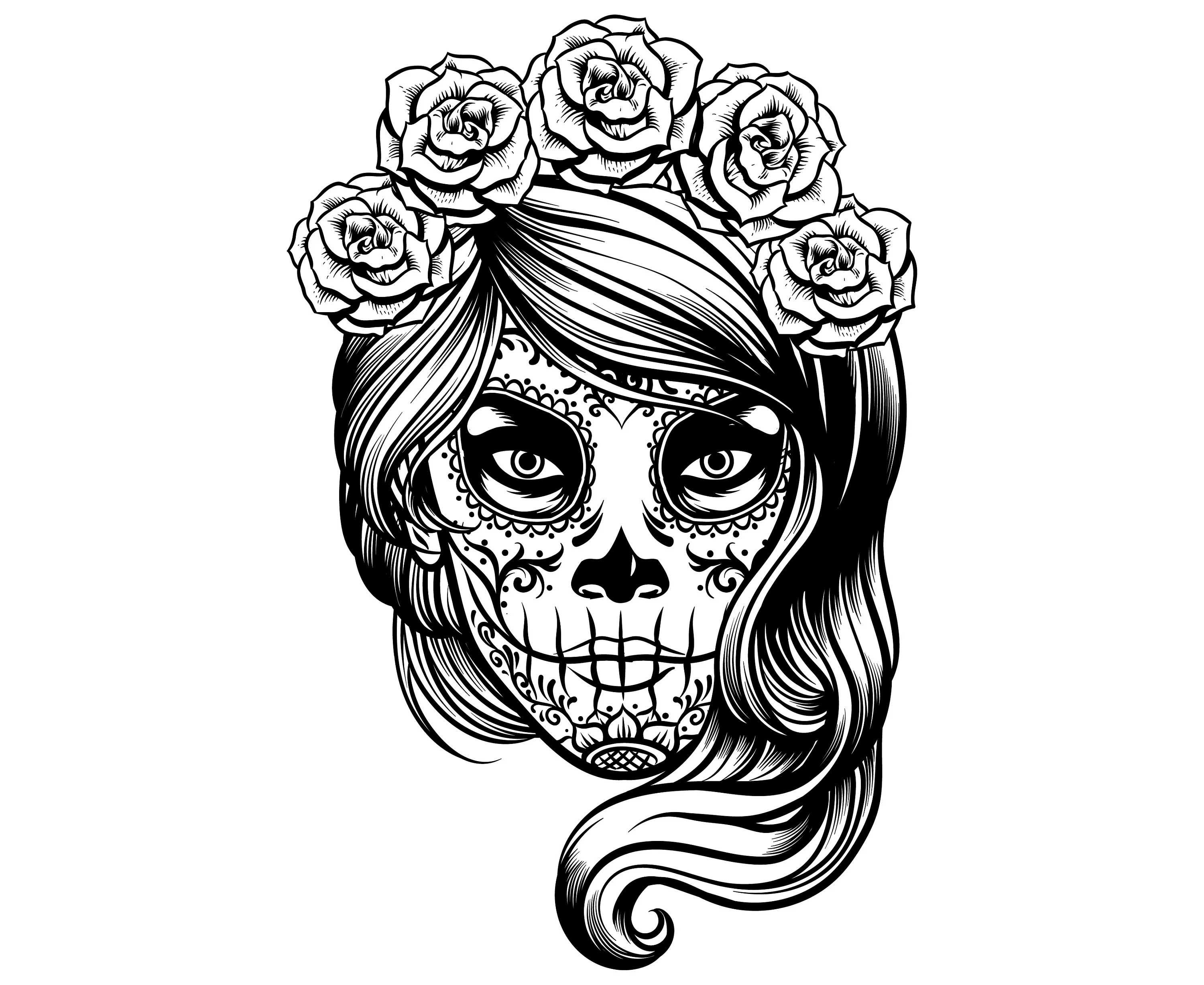 sugar skull girl svg