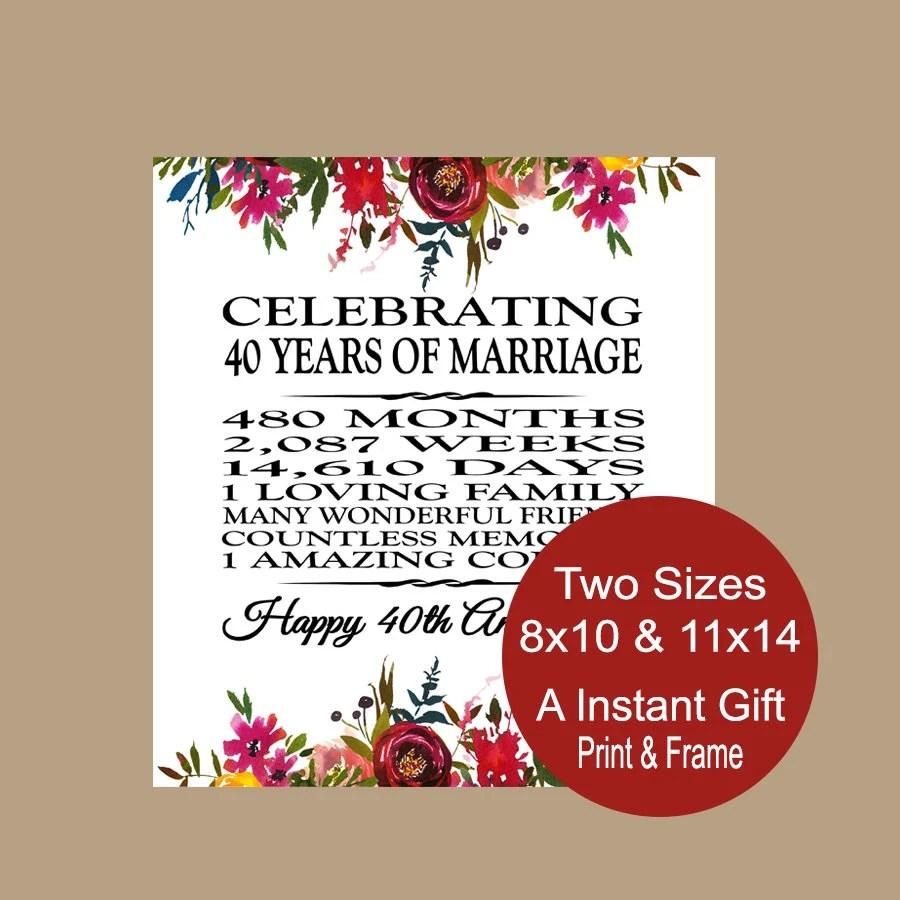 40 Year Wedding Anniversary Gift Anniversary Poem 40 Years  Etsy