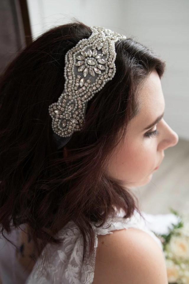 beaded bridal headpiece with jewels, bridal accessories, wedding accessories, headband, bridal headband