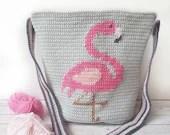 Fabulous Flamingo Bag, Crochet Bag, Flamingo Bag, Intarsia Crochet, Crochet Pattern, Printable PDF in US and UK Terms