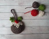 Christmas Pudding Tree Decoration - crochet pattern - Christmas decoration - printable pdf - US & UK terms