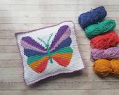 Butterfly 2 in 1 Pajama Case & Cushion, Crochet Pillow, PJ Case, Intarsia Crochet, US and UK terms