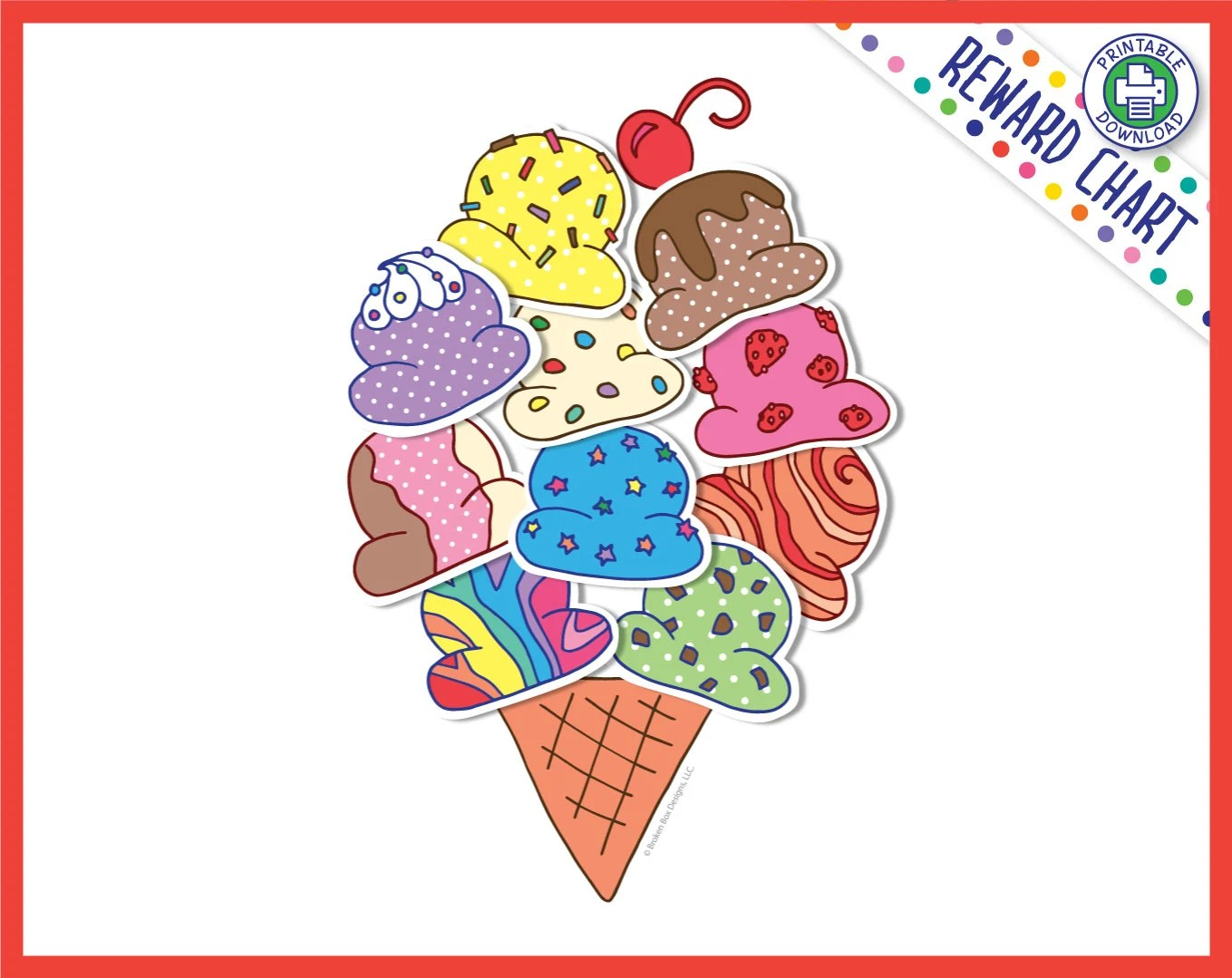 Ice cream cone reward chart printable download also etsy rh