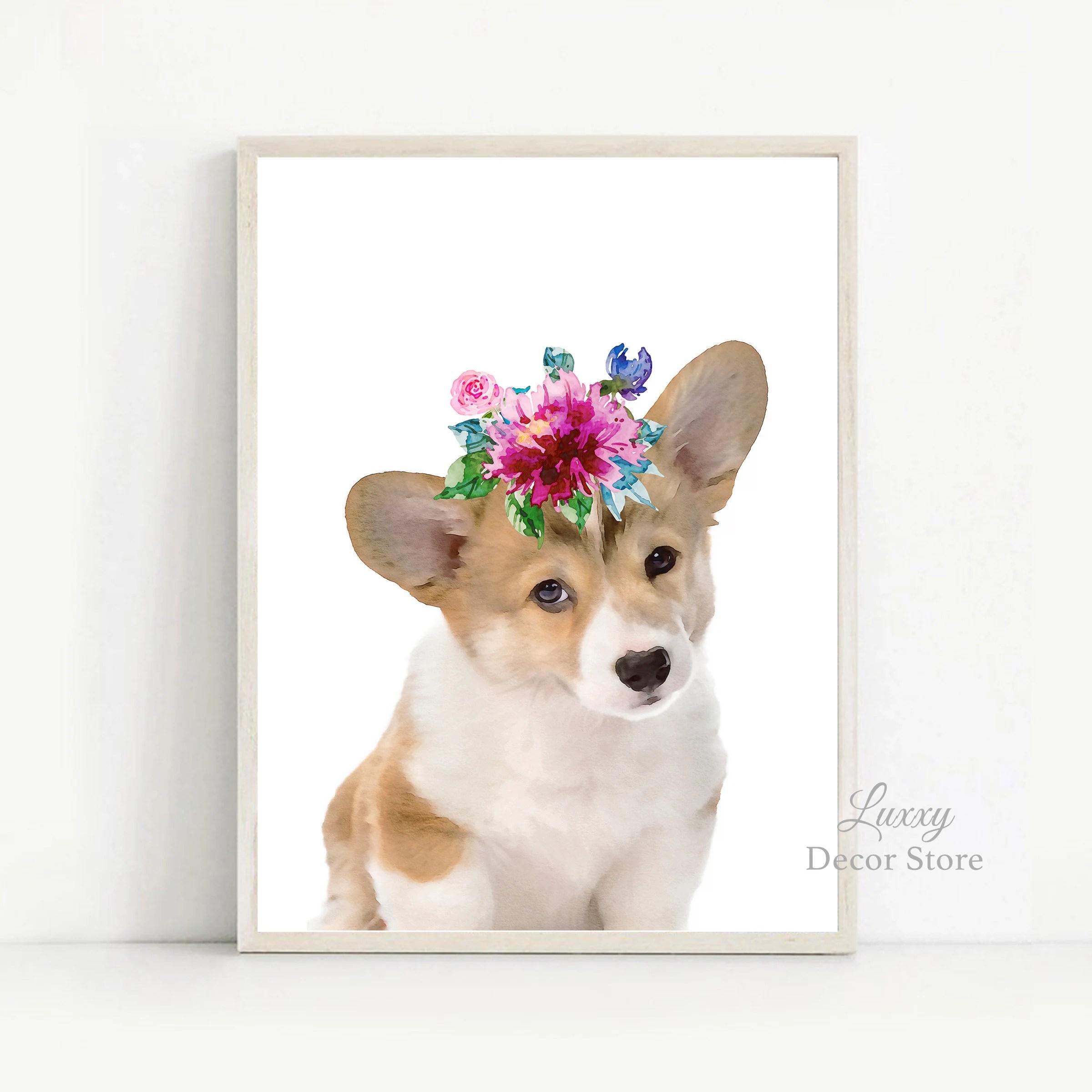 baby corgi puppy print