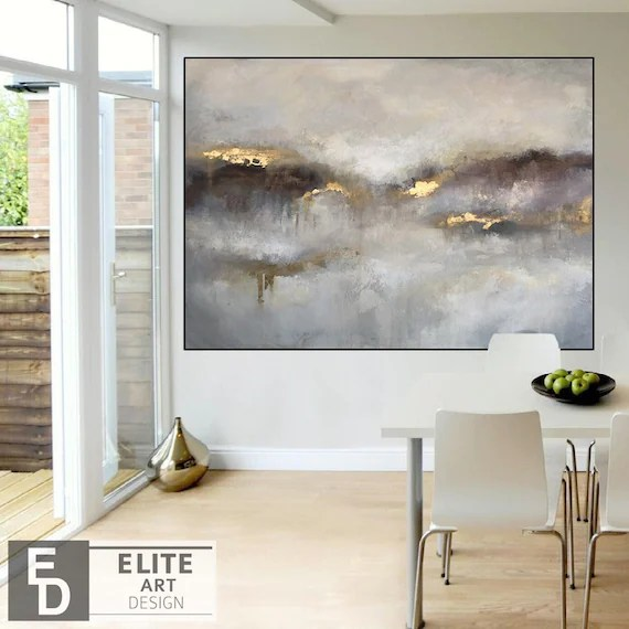 Large Abstract Painting Extra Large Wall Art Abstract Gold Etsy