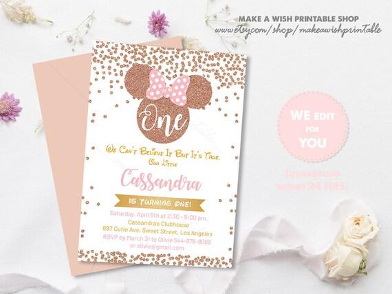 rose gold confetti birthday invitation