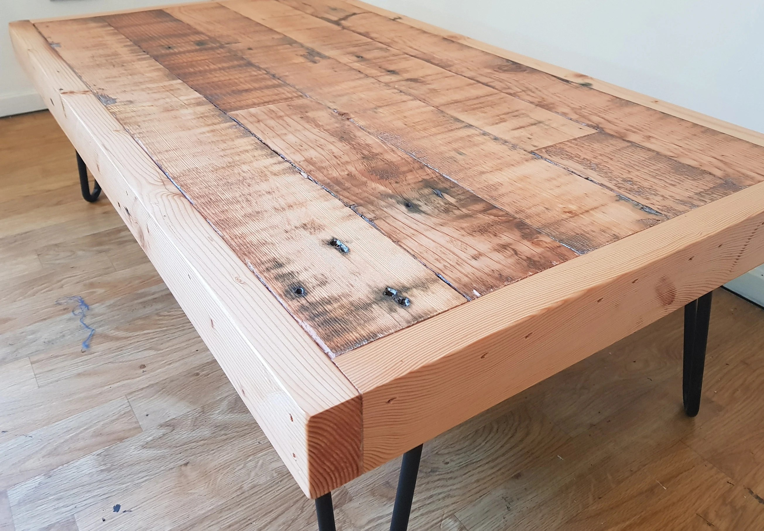 reclaimed oregon coffee table low line 310mm rustic coffee table handmade recycled timber coffee table australia hairpin legs