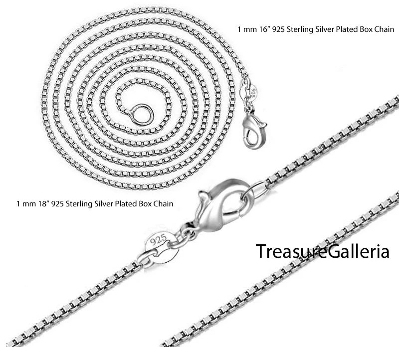 925 Sterling Silver Plated Box Chain Necklace with Lobster