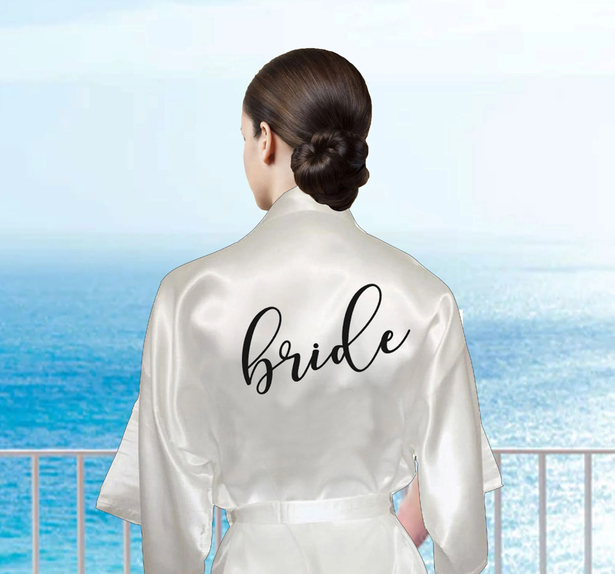 Set of Silky Bridal Party Robes for Getting Ready on Wedding image 2