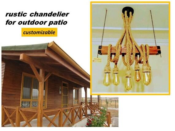 outdoor lighting rustic patio rope pendant light wooden beam etsy