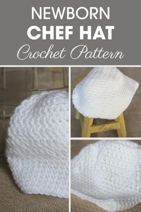 Chef Hat Pattern : pattern, Newborn, Crochet, Pattern