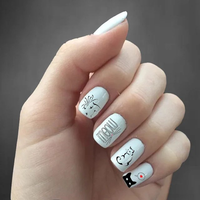 cat lover nail decals