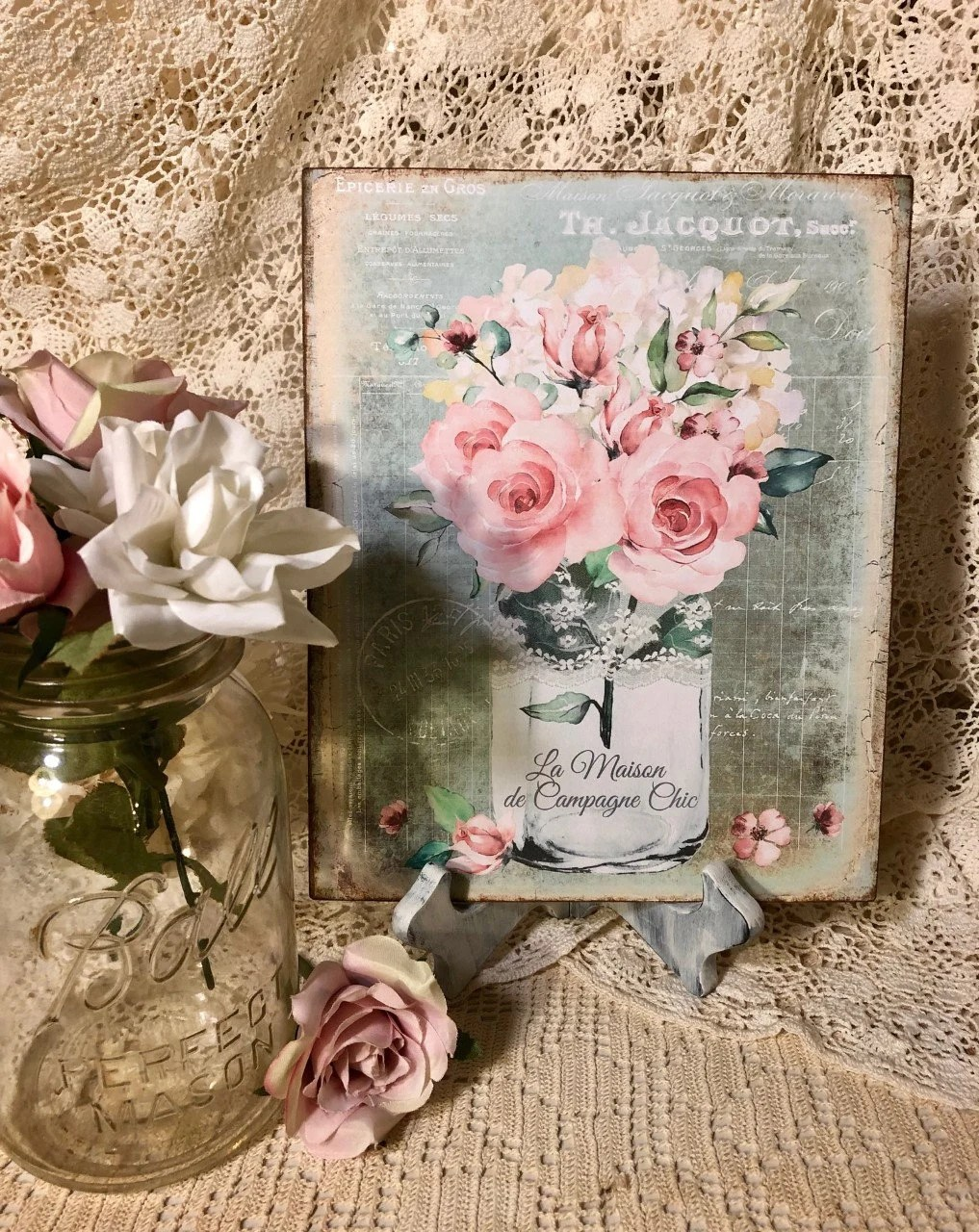 View and buy beautiful french provincial and hamptons style furniture, homewares, decor, linen, lighting, mirror and more online from maison living. Mason Jar Pink Roses Bouquet Shabby Chic La Maison Etsy