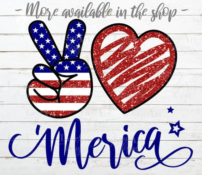 Download Peace Love Merica Svg Independence Day Vector USA America ...