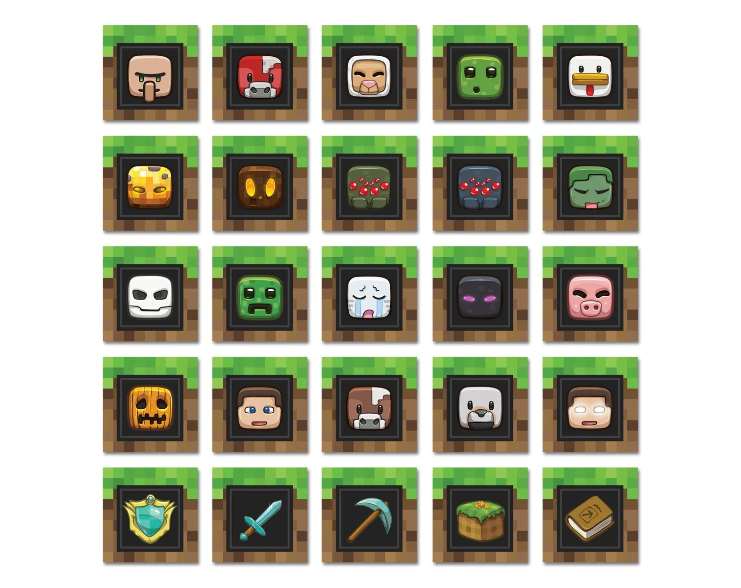Minecraft Themed Cupcake Toppers Happy Birthday Party