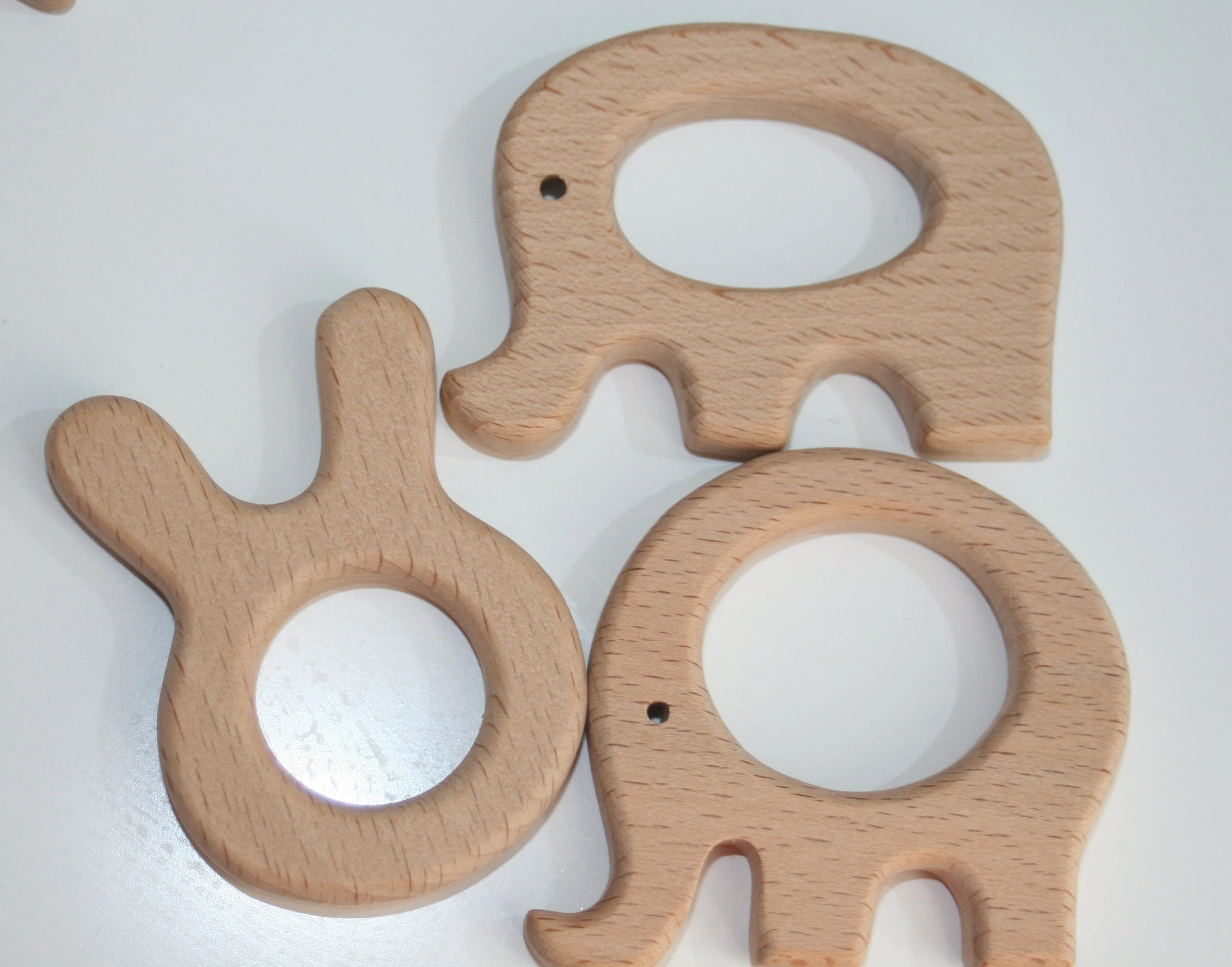 Wooden teethers teether shapes animals organic wood natural image 2