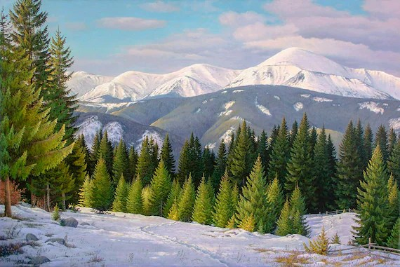 Winter Mountain Landscape Oil Painting Realism Oil