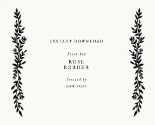Simple Botanical Leaf Rose Floral Border svg cut file clip art Etsy