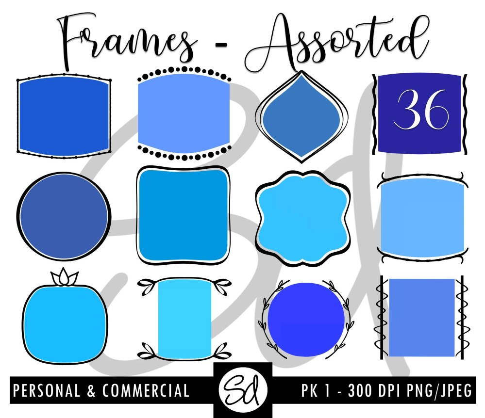 medium resolution of assorted frames pk 1 instant download frames digital clip art doodle frame clipart frames png blue png frames purple png frames