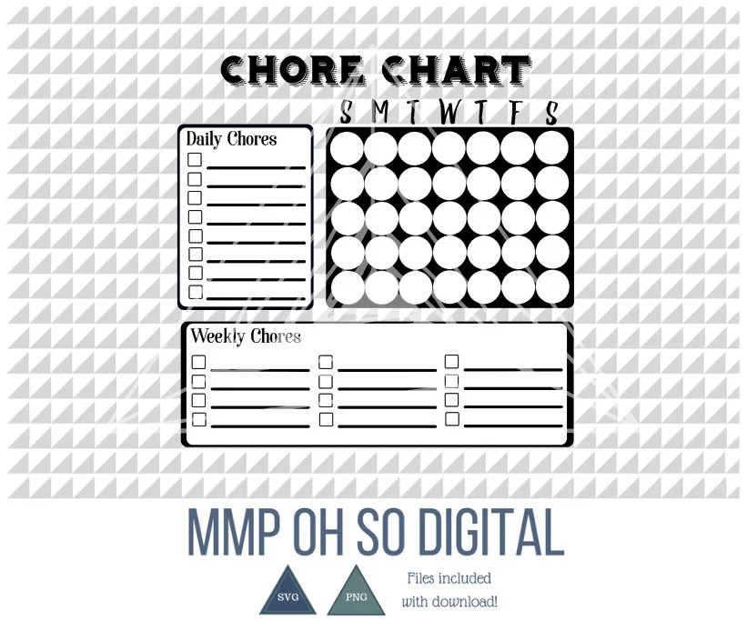 Printable Chore Chart Chore Chart For Kids Monthly Chore