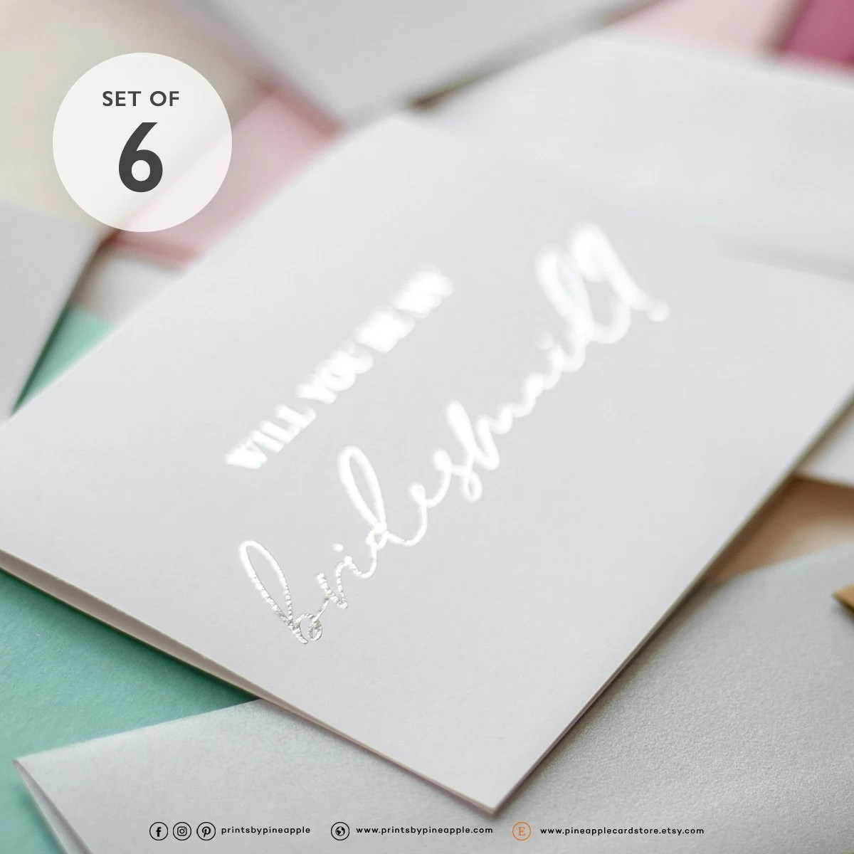 Will You Be My Bridesmaid – Bridesmaid Proposal – Ask Bridesmaid – Be My Maid of Honor – Be My Flower Girl Classy Silver Foil Cards (6x)                                                                    pineapplecardstore         From shop pineapplecardstore                               5 out of 5 stars                                                                                                                                                                                                                                                          (1,333)                 1,333 reviews                                                                                   CA$25.92                                                                             CA$32.40                                                              CA$32.40                                                                                               (20% off)