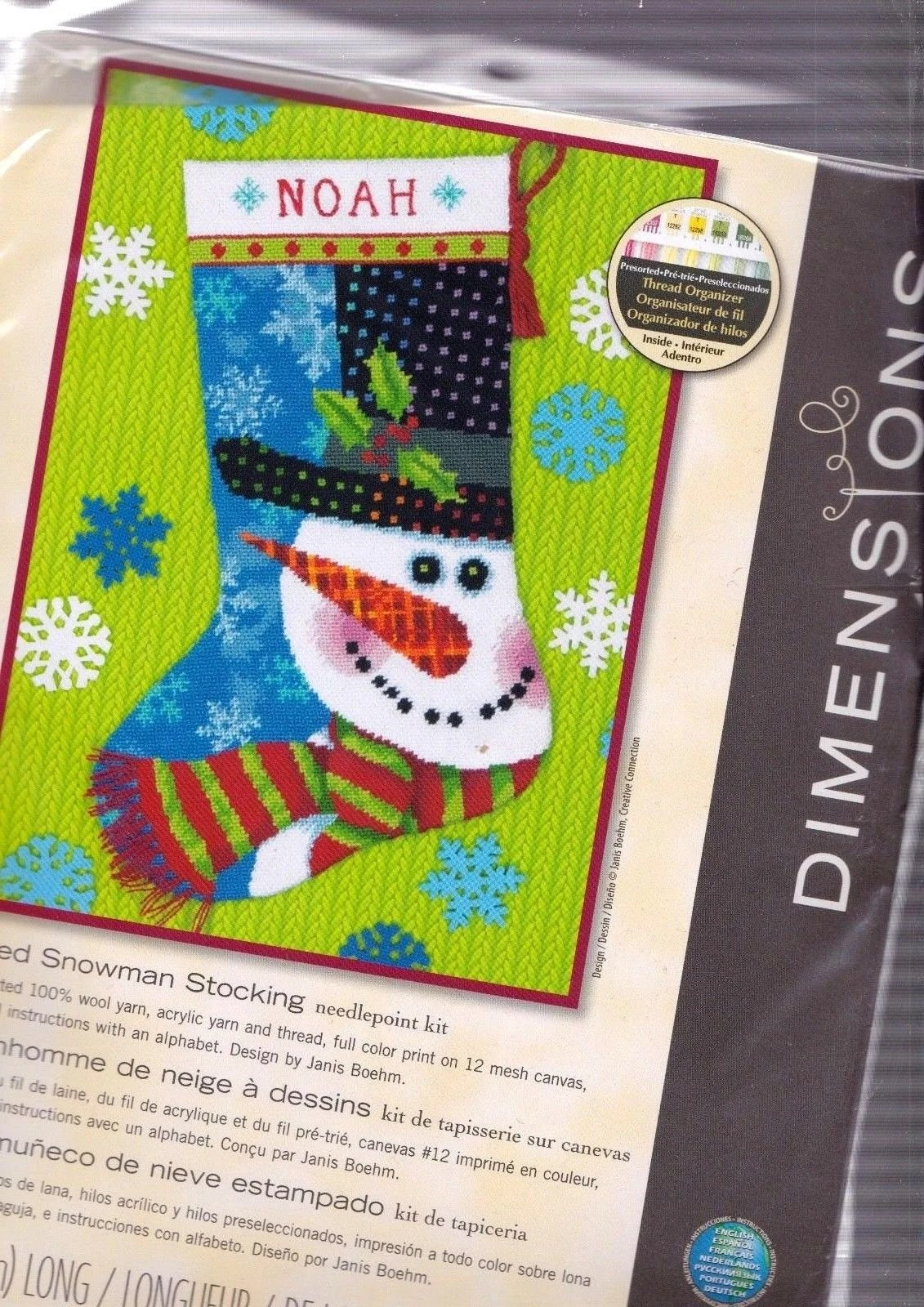 Noah Interieur Dimensions Patterned Snowman Christmas Snow Yarn Needlepoint Stocking Kit 09155 N