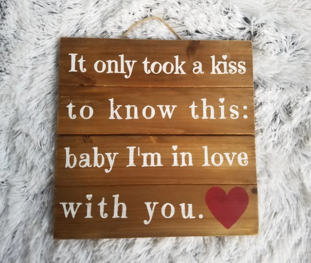 It Only Took A Kiss Love Sign Hung With Rope Makes A Great Little Gift For Any Couple