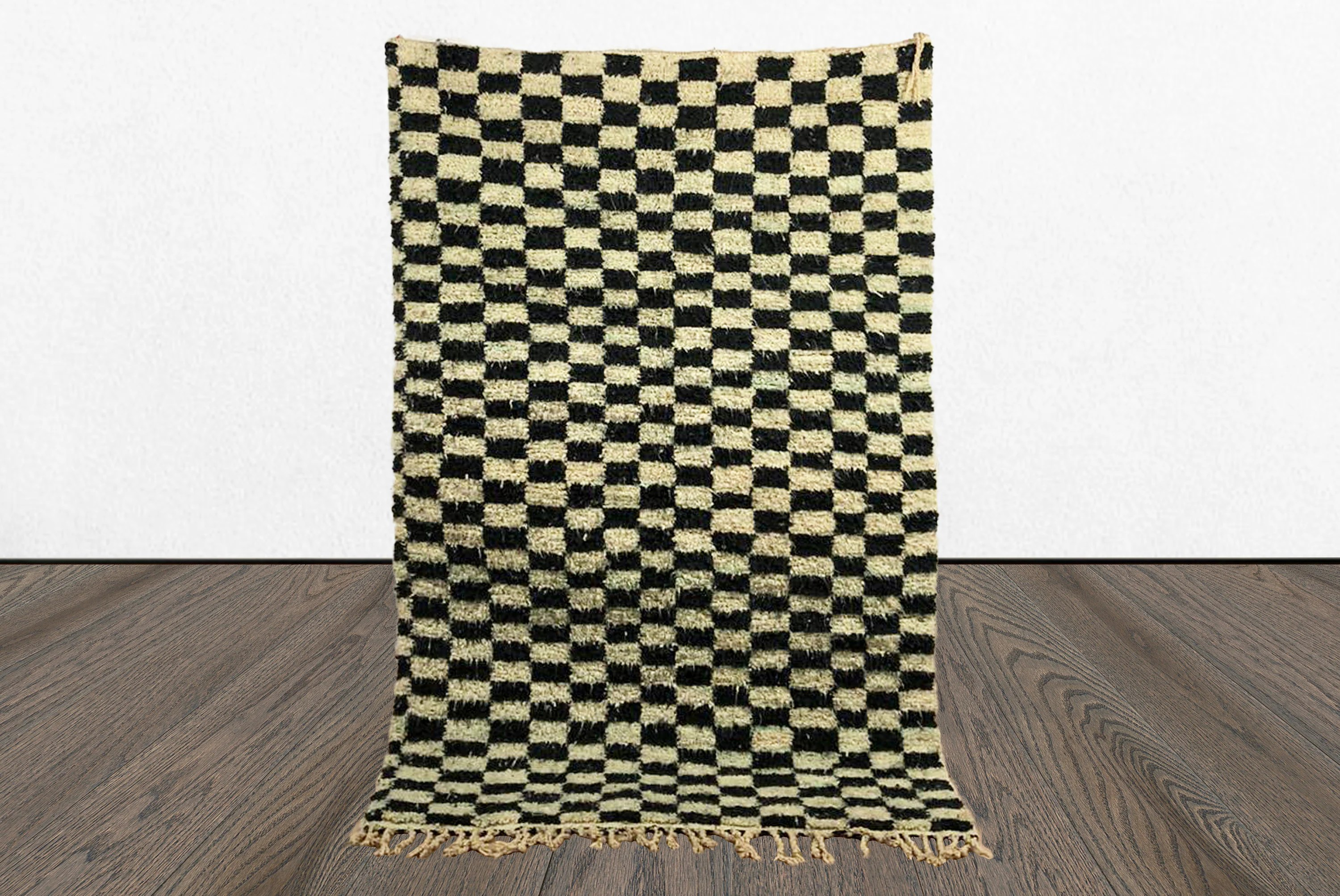 black and white rug checkered rug