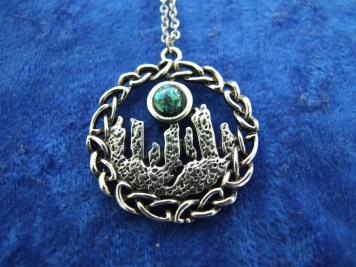 Standing Stones Charm Pendant Necklace With Green Moonstone image 0