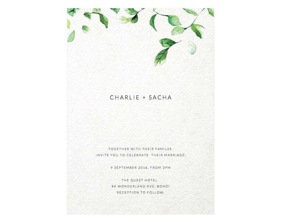 Minimalist invitation wedding template Greenery invitation