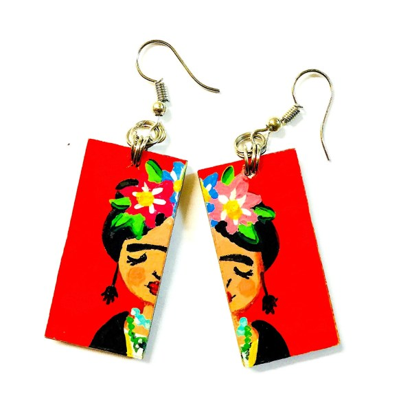 Frida Kahlo Earrings Hand Painted